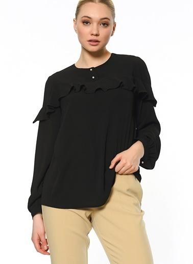 Butik Triko Volanlı Gömlek Siyah